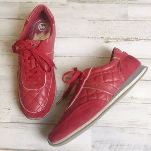 Michael Kors   Quilted Red Leather Sneakers 9.5